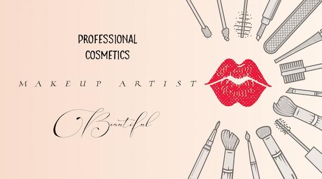 Modèle de carte de visite artiste de maquillage.