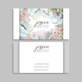 Modèle de carte de visite avec de belles fleurs