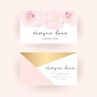 Modèle de carte de visite blanc rose et fond or
