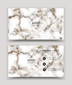 Modèle de carte de visite blanche avec texture marbre de luxe