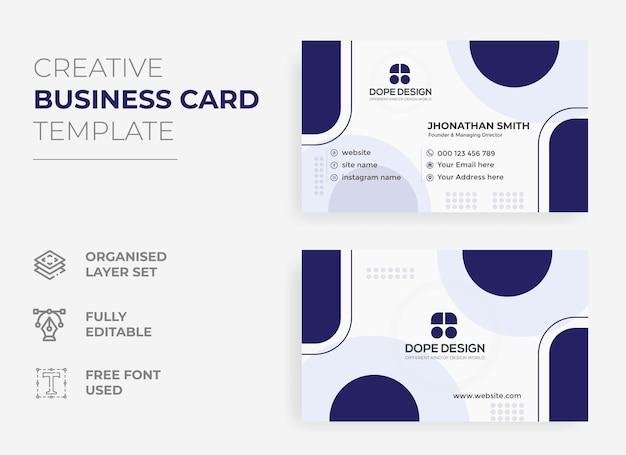 Modèle de carte de visite bleu avec conception de carte de visite de concept d'entreprise moderne
