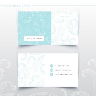 Modèle de carte de visite bleu doux. imitation des vagues