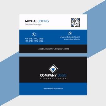 Modèle de carte de visite bleu et noir