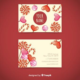 Modèle de carte de visite de bonbons aquarelle