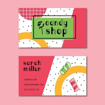 Modèle de carte de visite de bonbons