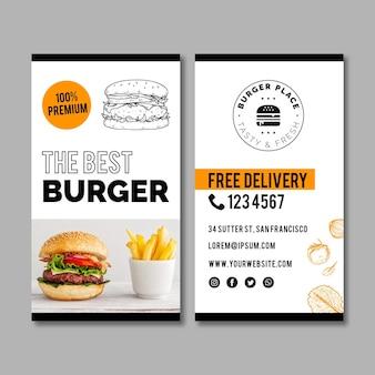 Modèle de carte de visite de burger