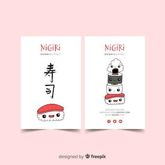 Modèle de carte de visite de caractère kawaii dessiné main