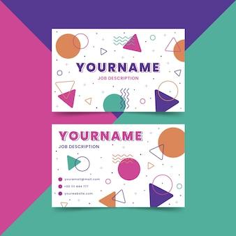 Modèle de carte de visite coloré abstrait avec des formes