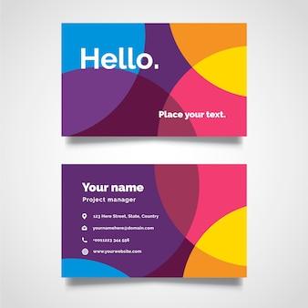 Modèle de carte de visite coloré minimal