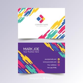 Modèle de carte de visite colorée dans un style abstrait