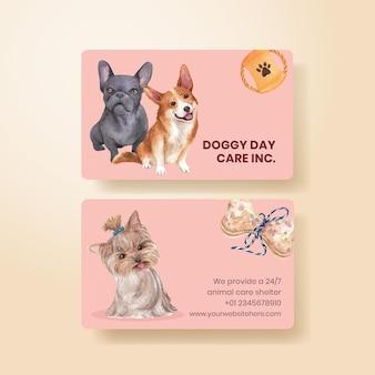 Modèle de carte de visite avec concept de chien mignon, style aquarelle