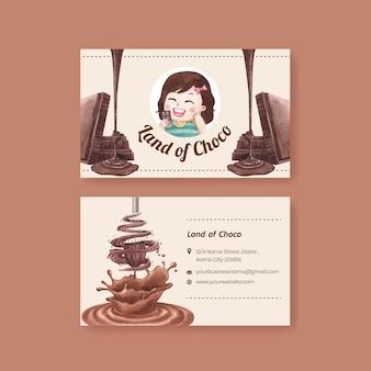 Modèle de carte de visite avec le concept de la journée mondiale du chocolat