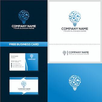 Modèle de carte de visite et concept de logo logo ampoule de données / technologie