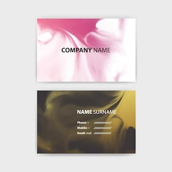 Modèle de carte de visite avec conception d'encre, modèle horizontal, mise en page au format rectangle.