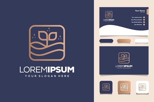 Modèle de carte de visite de conception de logo monogramme plage et mer