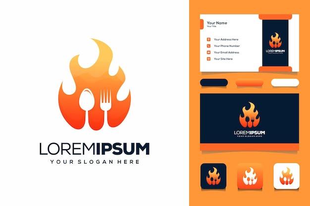 Modèle de carte de visite de conception de logo de nourriture chaude
