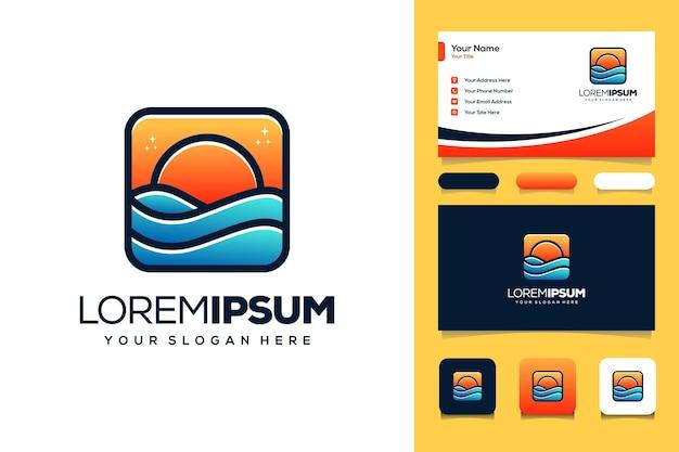 Modèle de carte de visite de conception de logo de plage et de mer