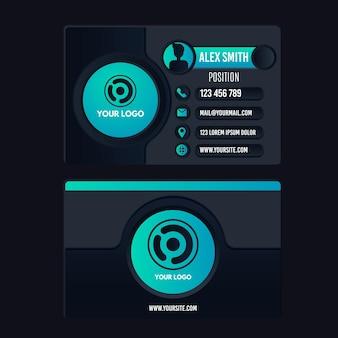Modèle de carte de visite de conception neumorph