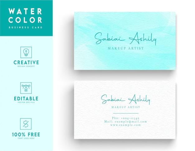 Modèle de carte de visite de couleur de l'eau - concept de carte de visite abstrait de couleur de l'eau bleu clair