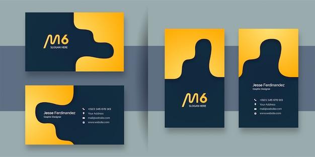 Modèle de carte de visite de couleur jaune abstrait