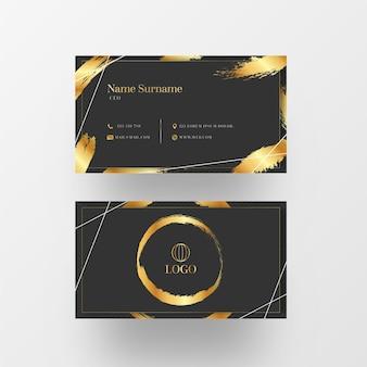 Modèle de carte de visite de coup de pinceau de feuille d'or
