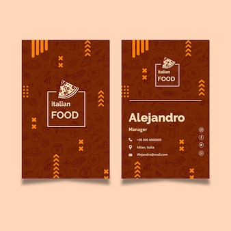 Modèle de carte de visite de cuisine italienne