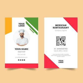Modèle de carte de visite de cuisine mexicaine