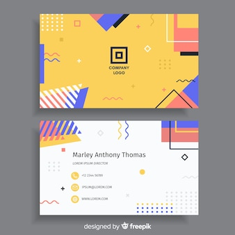 Modèle de carte de visite dans le style de memphis