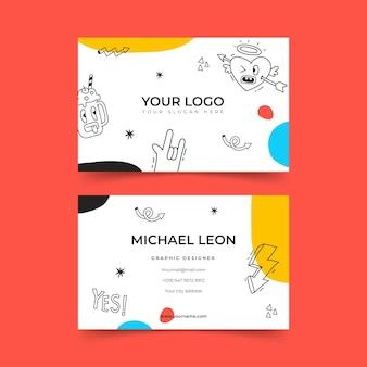 Modèle de carte de visite de dessin animé à la mode dessiné à la main