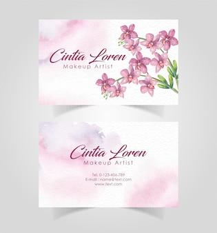 Modèle de carte de visite élégant aquarelle florale