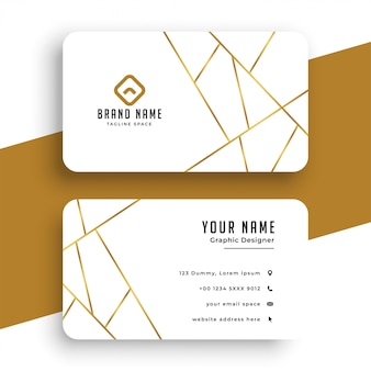 Modèle de carte de visite élégant blanc et or