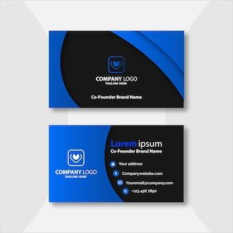 Modèle de carte de visite élégant bleu et noir