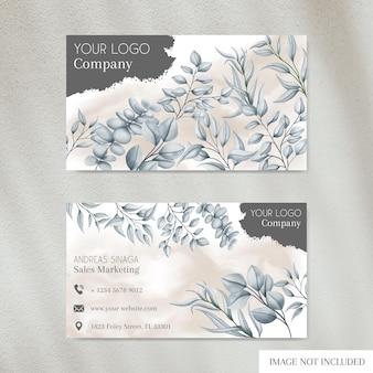 Modèle de carte de visite élégant avec couverture florale