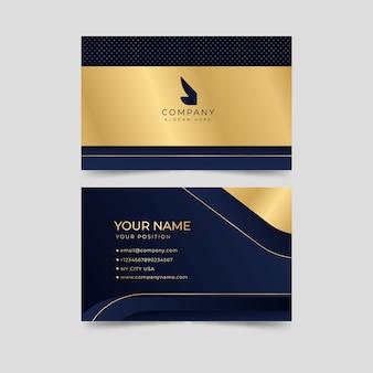 Modèle de carte de visite élégant doré et bleu