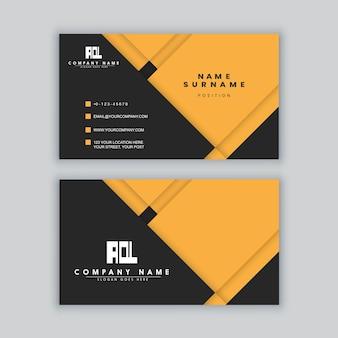 Modèle de carte de visite élégant minimal noir et jaune
