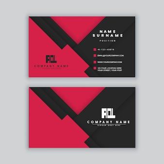 Modèle de carte de visite élégant minimal noir et rouge