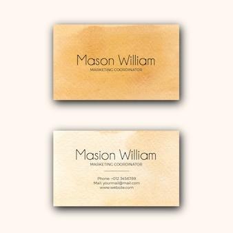 Modèle de carte de visite d'entreprise abstrait texture aquarelle jaune