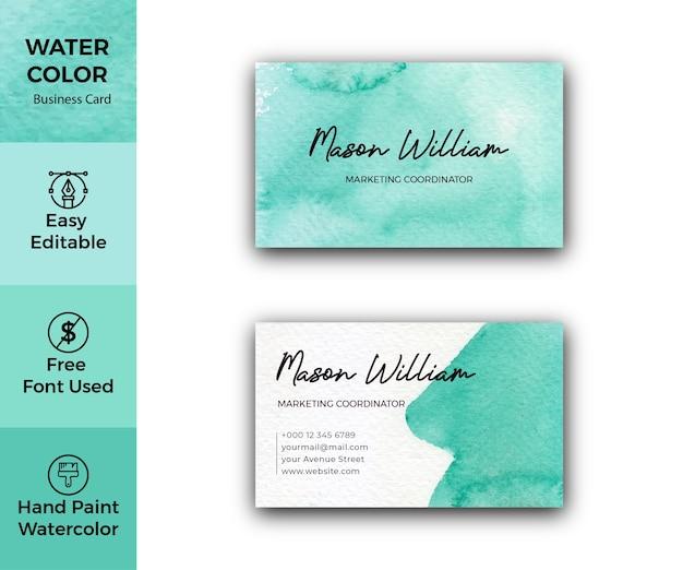 Modèle de carte de visite d'entreprise aquarelle verte abstraite
