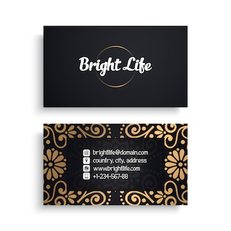 Modèle de carte de visite d'entreprise avec un design de luxe ethnique, style boho