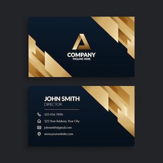 Modèle de carte de visite d'entreprise moderne en or