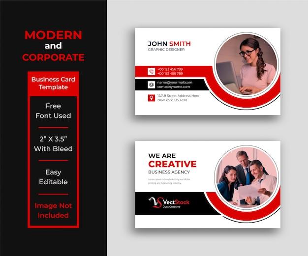 Modèle de carte de visite d'entreprise avec photo