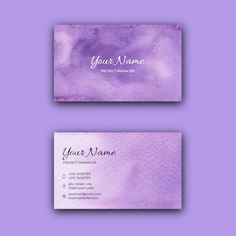 Modèle de carte de visite d'entreprise texture aquarelle violette