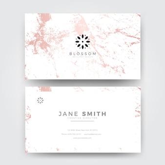 Modèle de carte de visite féminin moderne de marbre rose