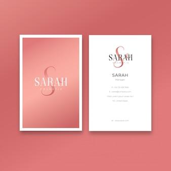 Modèle de carte de visite féminine minimaliste