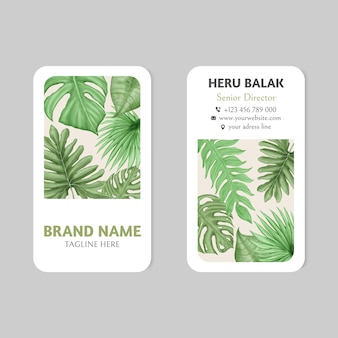 Modèle de carte de visite de feuilles d'été tropical