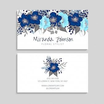 Modèle de carte de visite de fleur bleue