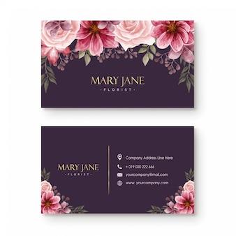 Modèle de carte de visite de fleuriste avec de belles fleurs à l'aquarelle