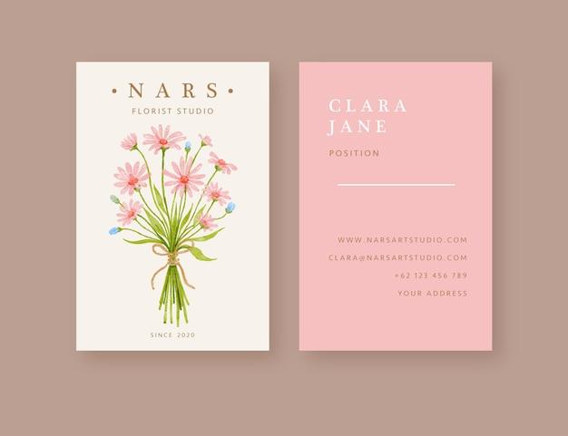 Modèle de carte de visite fleuriste bouquet floral dessiné à la main
