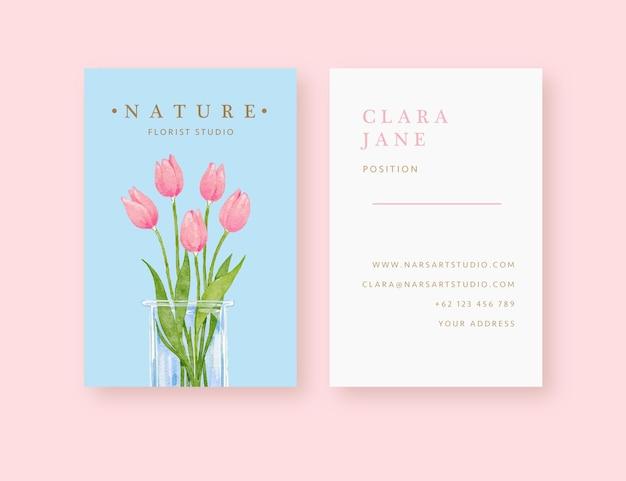Modèle de carte de visite fleuriste tulipe fleur vase dessiné à la main