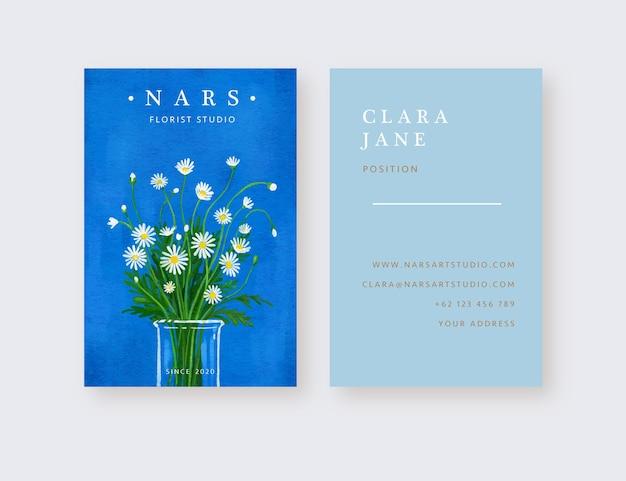 Modèle de carte de visite de fleuriste de vase de fleurs de marguerite dessinés à la main